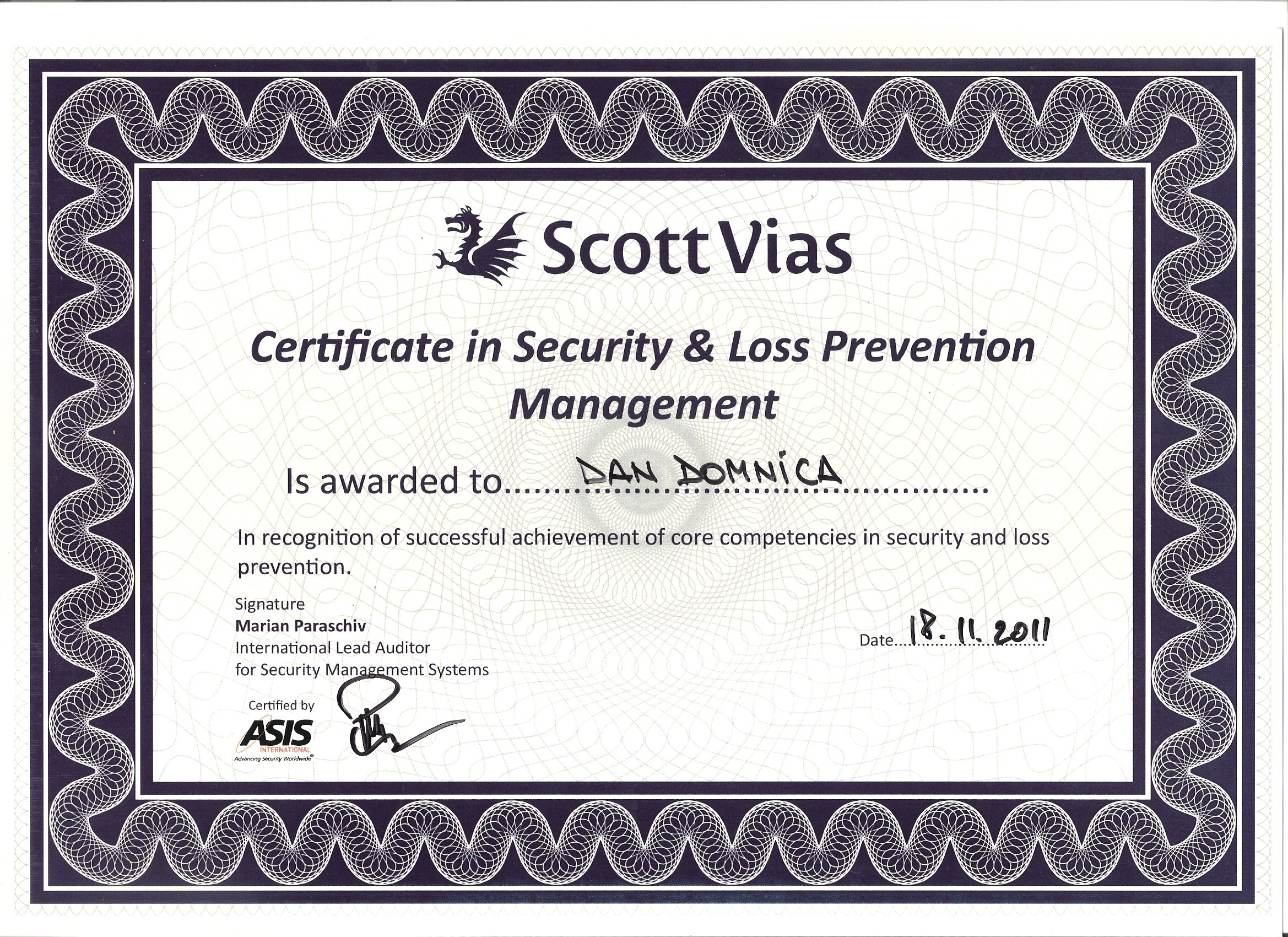 Lovely Gallery Of Loss Prevention Certification Business Cards And